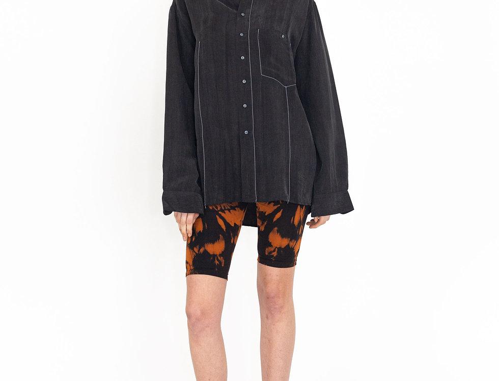 Silk topstitch blouse