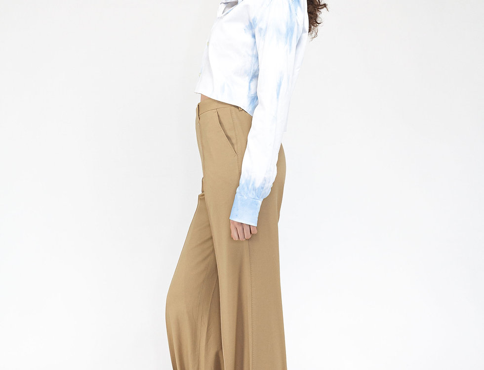 Pin tuck trousers beige