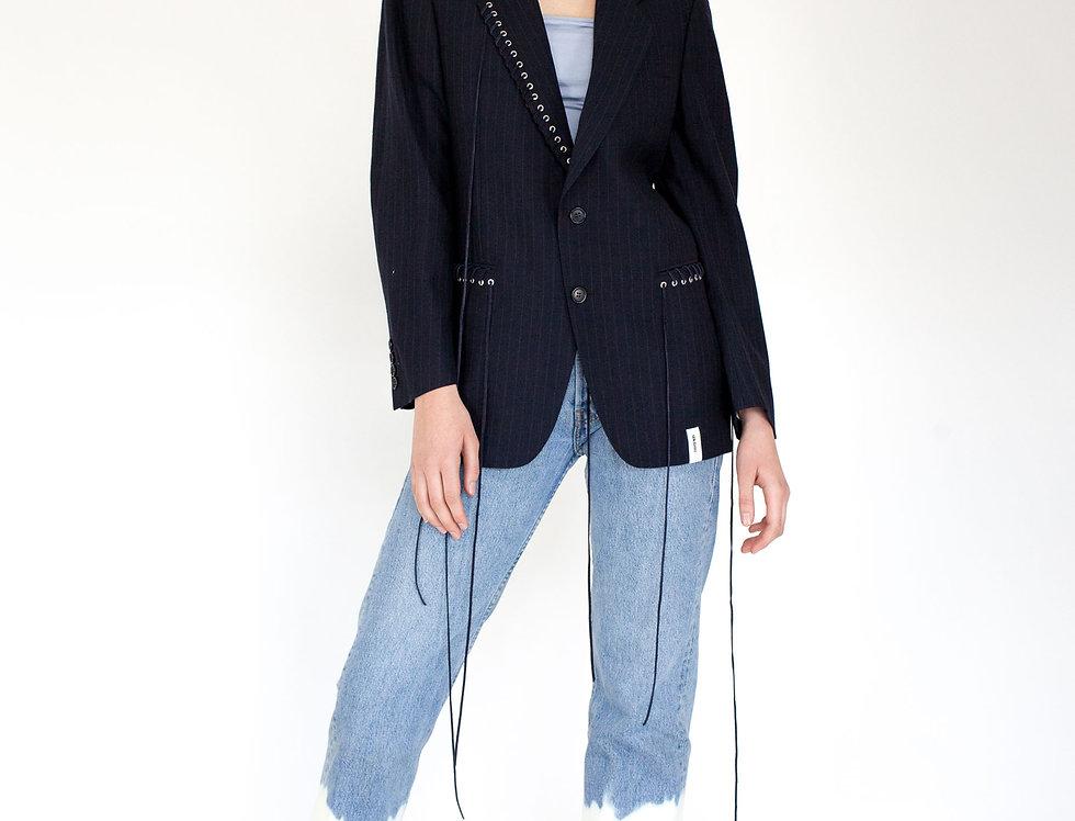 Dark blue eyelet jacket