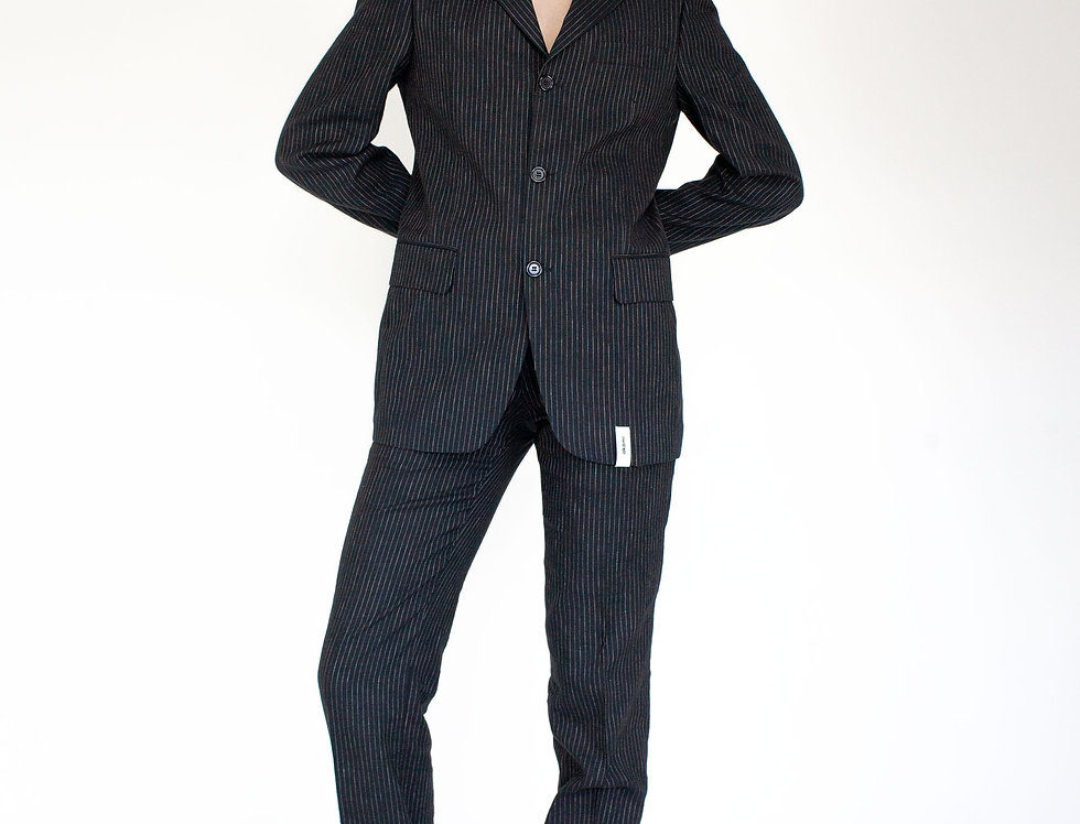 Suit black pinstripe