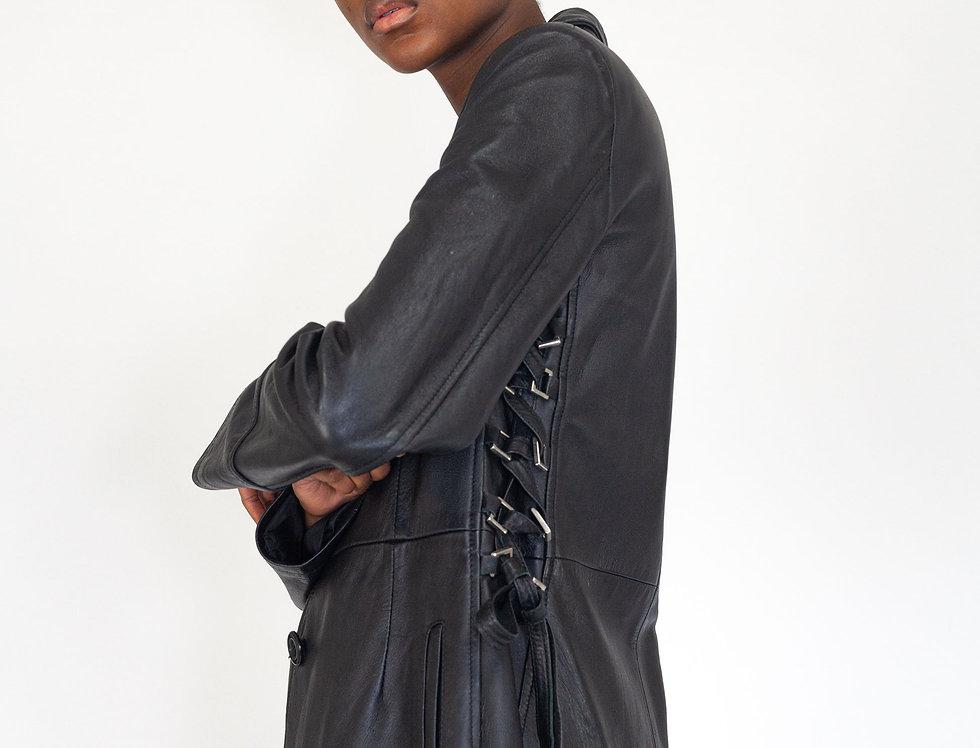 Leather coat long