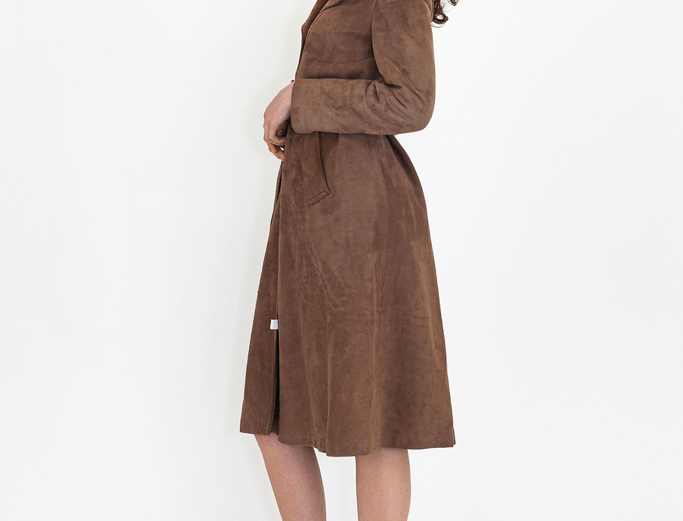 Suede coat long