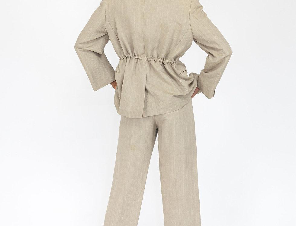 Beige pinstripe suit