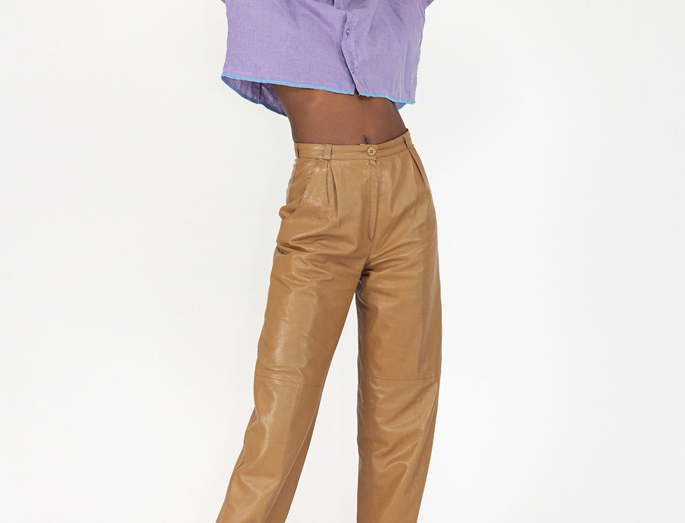 Paperbag leather trousers cognac
