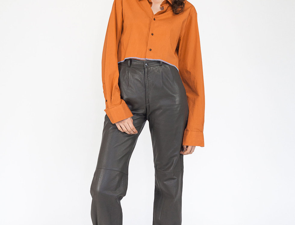 Paperbag leather trousers