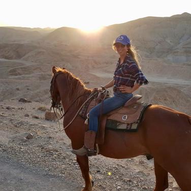 Rachel leading a sunset tour by the Dead Sea