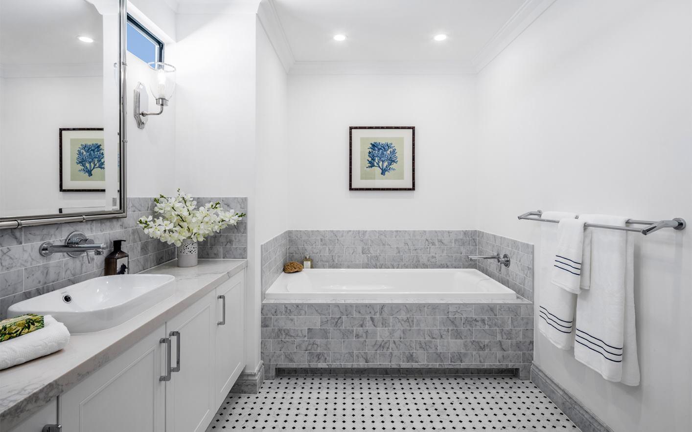 Vanity - C white - B grey - semi recesse