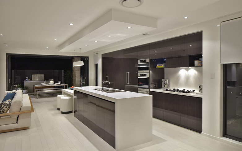 Kitchen - C gloss dark wood - B white tr