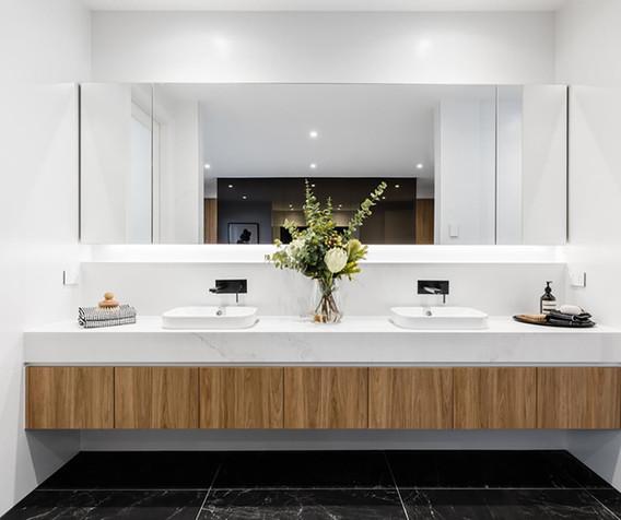 Vanity - C wood - B white apron - inset.