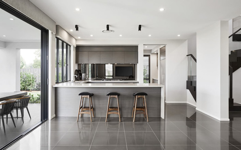 Kitchen - C grey wood - B white single w