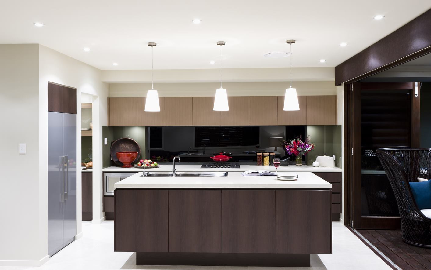 Kitchen - C dark wood - U wood - B white