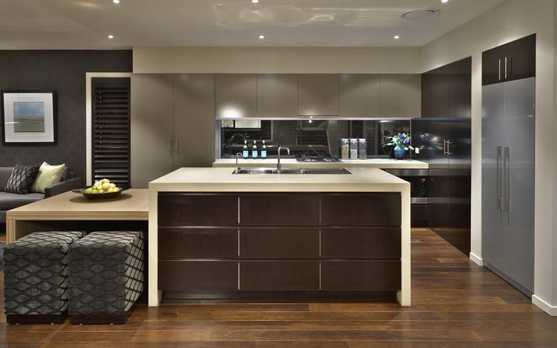 Kitchen - C dark wood - U grey and dark