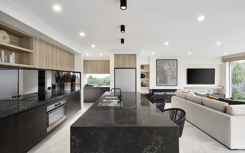 Kitchen - C black - U wood with open - B