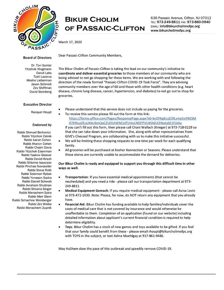 Letter to Community RE Virus on stationa