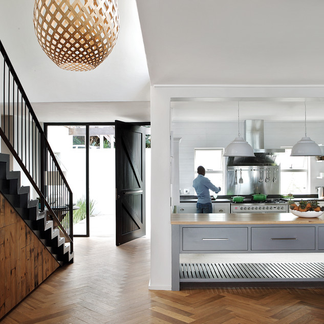 Open plan kitchen and stairc