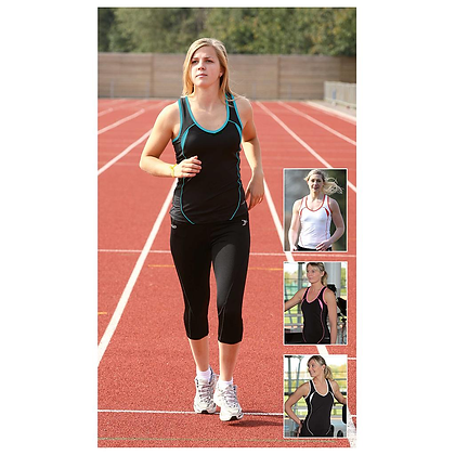 Ladies Running Vest - Black and Pink