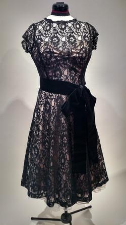 Black lace over nude satin