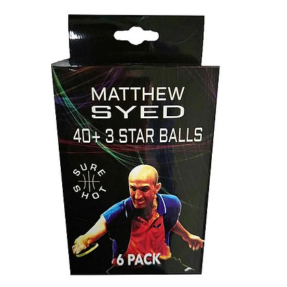 Sure Shot Matthew Syed 3 Star Plastic Table Tennis Balls (Pack of 6)