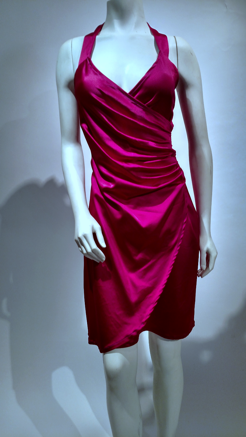 hot pink halter dress
