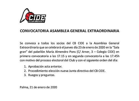 CONVOCATORIA ASAMBLEA GENERAL EXTRAORDIN