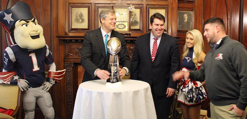 Bill w/ Gov. Baker & the Patriots SuperBowl Trophy