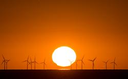 Sonnenaufgang im Windpark