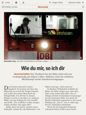 Lokführerstreik: Abdruck im Spiegel