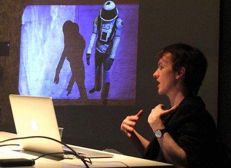 David F Poole delivering an artist talk, Vivid Projects