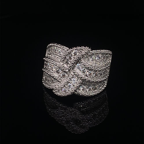 Sterling Silver Large Cubic Zirconium Cluster Ring