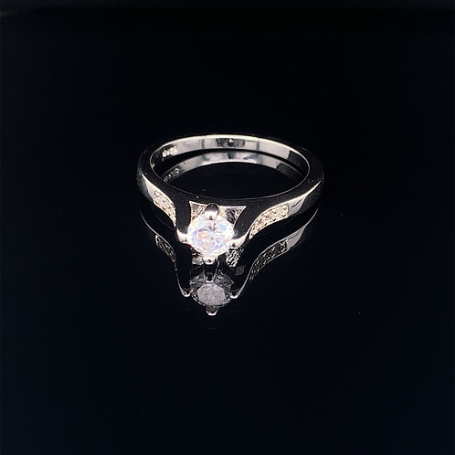 Sterling Silver Cubic Zirconium Engagement Ring