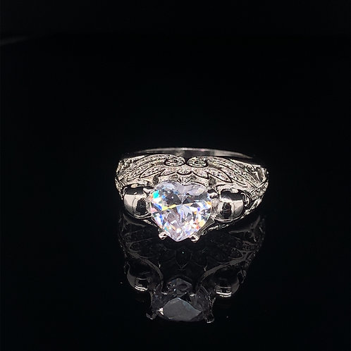 Sterling Silver Heart Shaped CZ  ring with skull Accents
