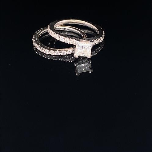 14k White Gold Princess Cute Diamond Wedding Set