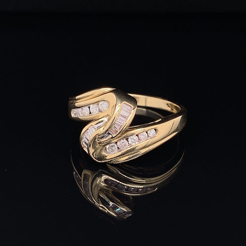 14k Yellow Gold Diamond Knot Ring