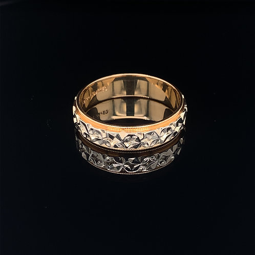 14k White and Yellow Gold Art carved Wedding band