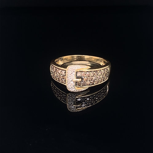 14k Yellow Gold Belt Buckle Ring