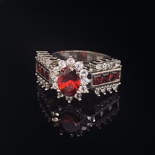 Sterling Silver Garnet and Cubic Zirconium Ring