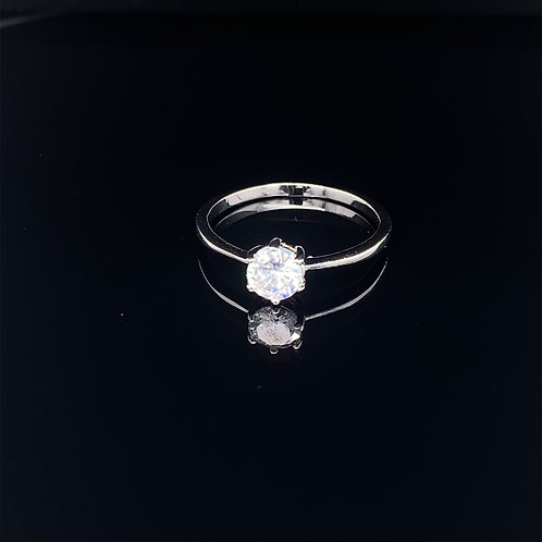 Sterling Silver Cubic Zirconium Solitaire Ring