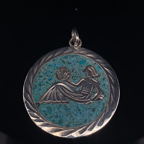 Sterling Silver Turquoise Mermaid Charm