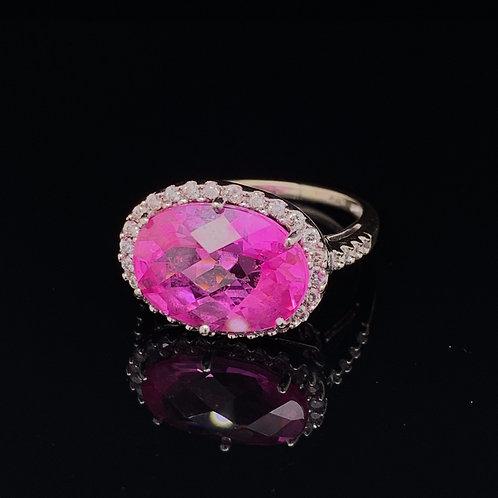 10k White Gold Pink Ice Ring
