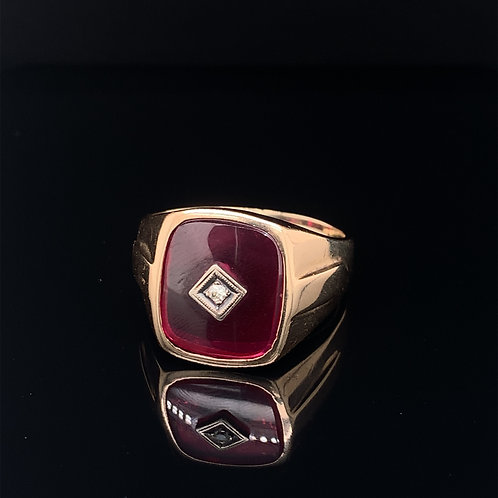 10k Yellow Gold Men's Ring with Red stone and Diamond Chip Center