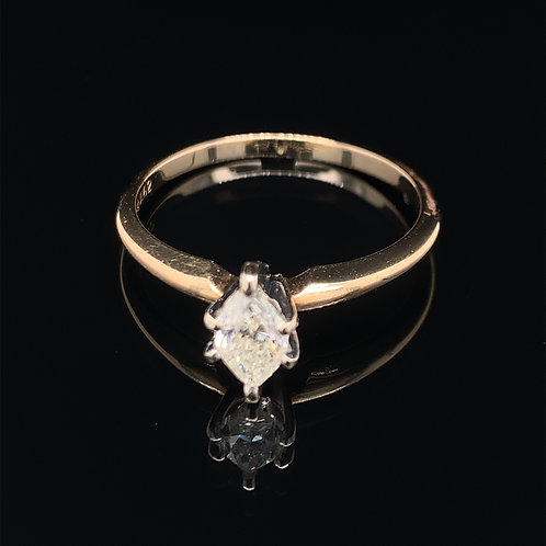 14k Yellow Gold Diamond Marquis Engagement Ring