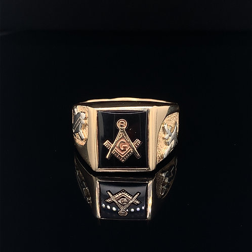 10k Yellow Gold and Black Onyx Mason Ring