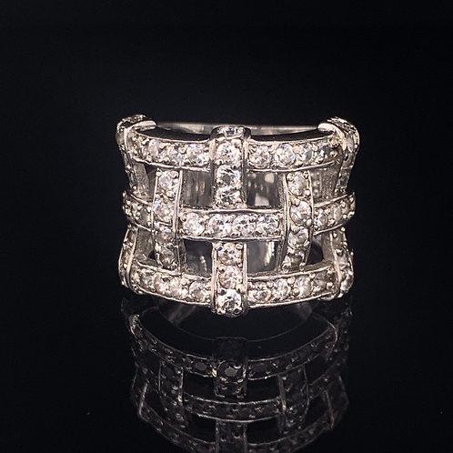 Sterling Silver Cubic Zirconium Basket Weave Ring
