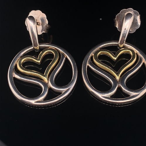 Slane and Slane Sterling Silver and Yellow Gold Heart Earrings