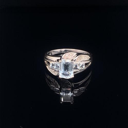 10k White Gold Topaz and Diamond Ring