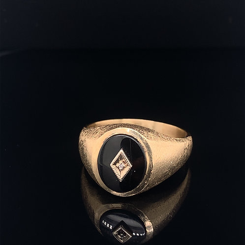 10k Yellow Gold Black Onyx Ring