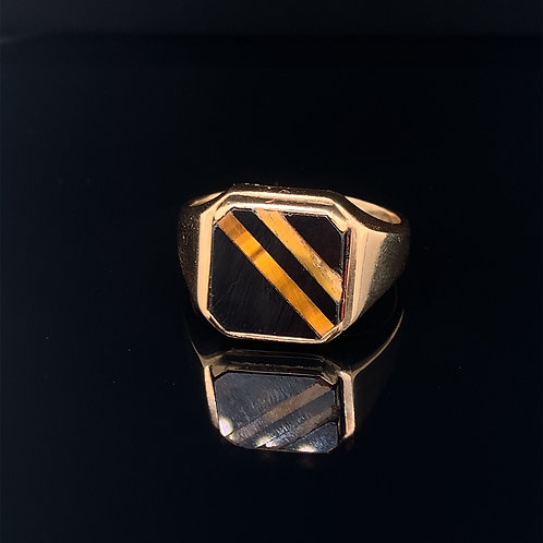 10K Yellow Gold Onyx and Tigers eye  ring