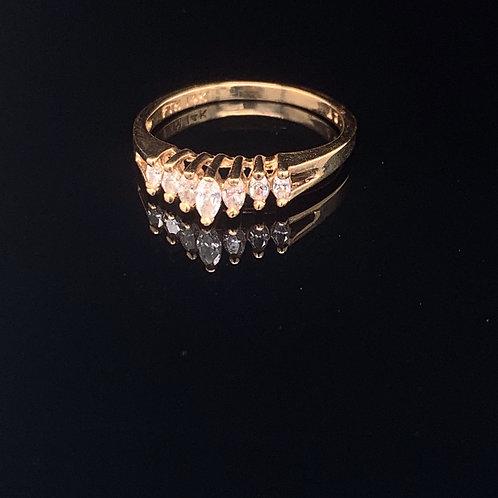14k Yellow Gold Chevron Diamond Cluster Ring