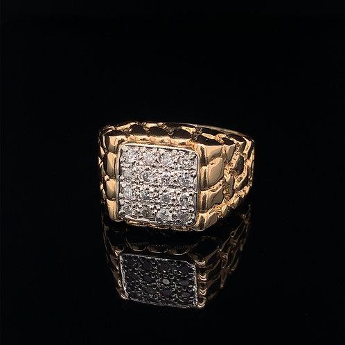 10k Yellow Gold nugget Diamond Ring