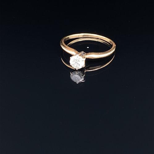 14k Yellow Gold Diamond Soliataire Engagement Ring
